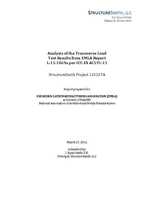 Analysis of the Transverse Load Test Results from EMLA Report L-11-1869a per ICC-ES AC191-11