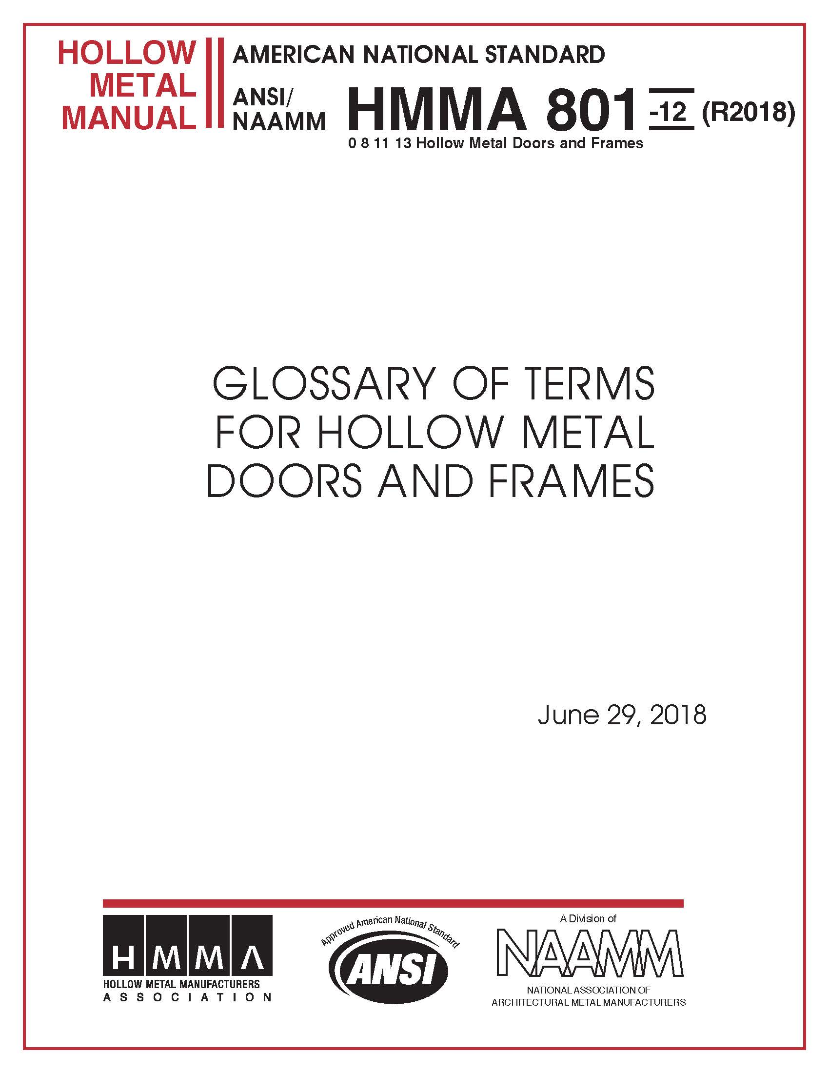 glossary of terms for hollow metal doors and frames national