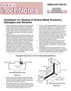 Guidelines for Glazing Hollow Metal Transoms, Sidelights and Windows