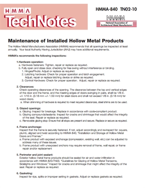 Maintenance of Installed Hollow Metal Products