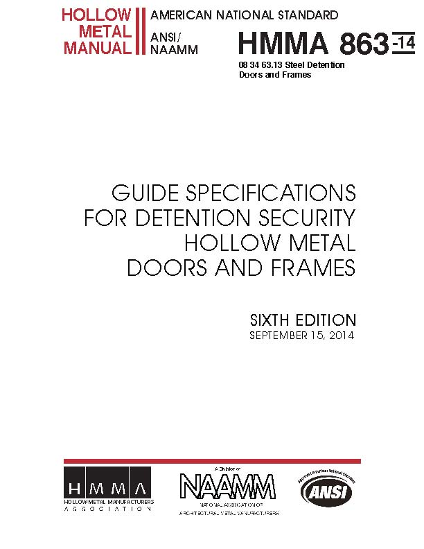 Guide Specifications for Detention Security Hollow Metal Doors and Frames